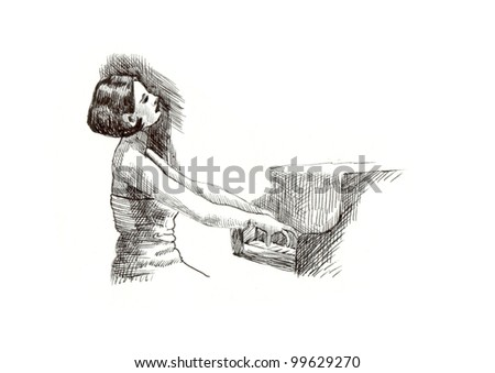 a girl with a piano - classical music theme. Hand drawing (black marker)