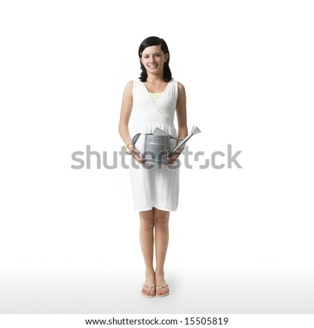 A girl with a watering can against a white background