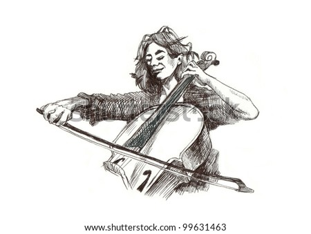 a girl with cello - classical music theme. Hand drawing (black marker)