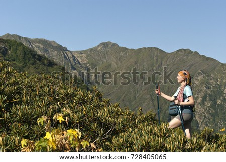 a girl with poles for nordic walking and a camera bag rises up the mountainside, overgrown with rhododendron, against the backdrop of the mountain peaks #728405065
