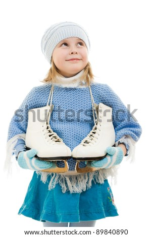 A girl with skates on white background.