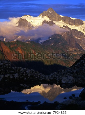 A glacier on Mt. Shuksan located in the North Cascades National Park of Washington State.