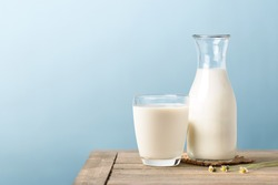 A glass and bottle of milk on wooden table with light blue background.