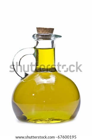 A glass bottle with olive oil isolated on a white background.