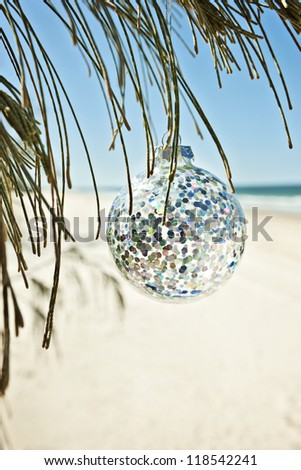 a glass christmas ball hangs from a tree at the beach, vertical comp