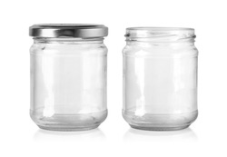 a glass food jars with a silvercap isolated on a gray to white background with clipping path