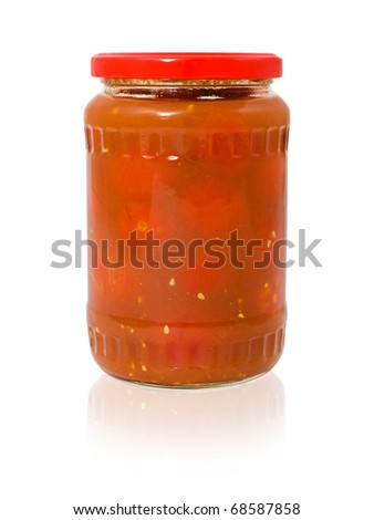 a glass jar of pickled tomatoes in their own juice, clipping path