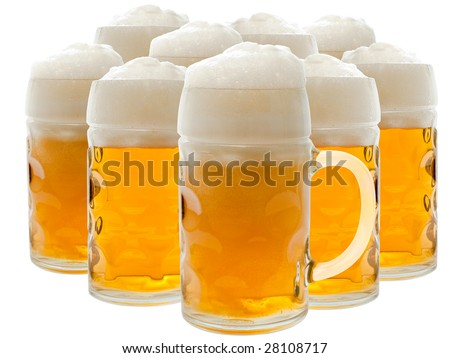 A glass of beer over the white background