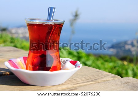 a glass of black (red) tea