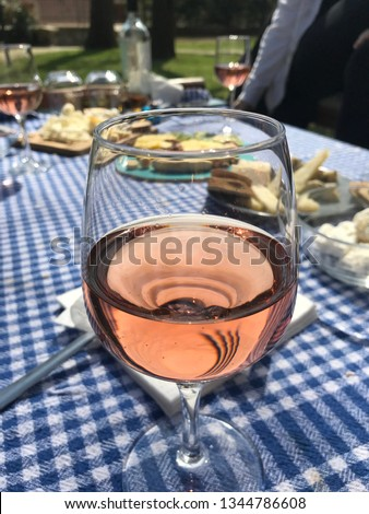 A Glass of Blush Wine and Cheeses #1344786608