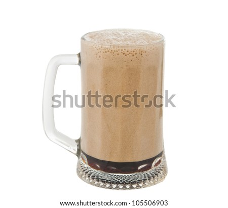 a glass of dark beer isolated on white background