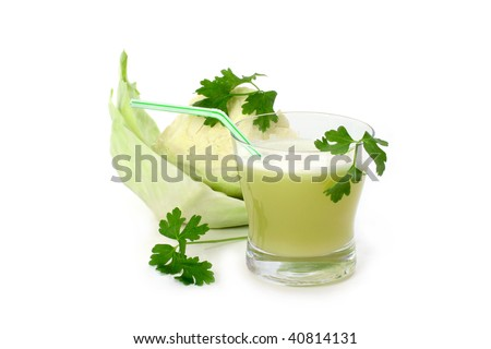 A glass of fresh cabbage juice isolated on white background.