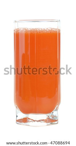 A glass of fresh carrot juice isolated on white background