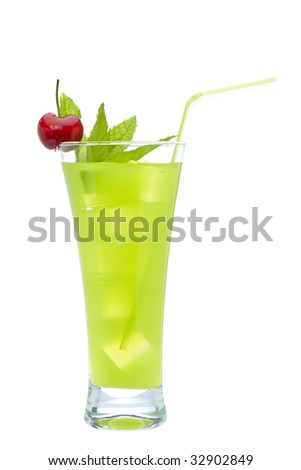 A glass of fresh lime juice with a cherry and mint on white background