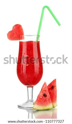 A glass of fresh watermelon juice isolated on white