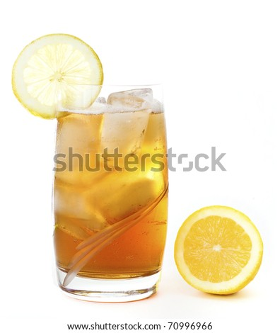 A glass of ice lemon tea, drink, isolated on white background