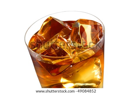 A glass of ice tea isolated on white background