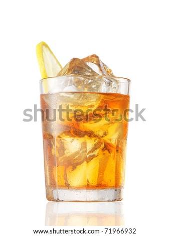 A glass of Ice Tea with a lemon slice on white.