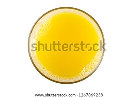 a glass of orange juice close up shot.  #1267869238