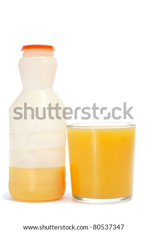 a glass of orange juice from a bottle