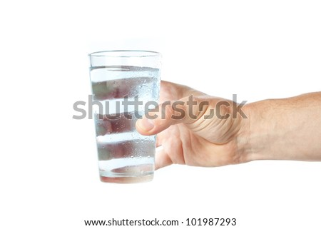 A glass of pure water in hand.