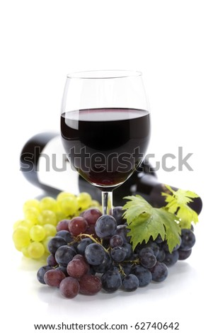 a glass of red wine and grape over white (with sample text)