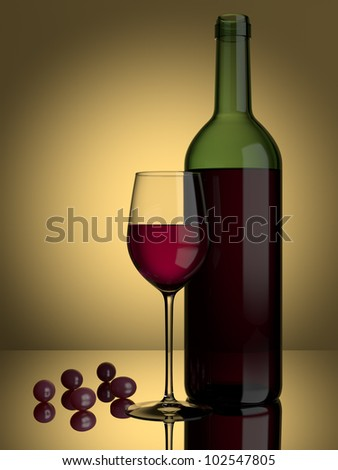 A glass of red wine and grapes on a lit background - stock photo