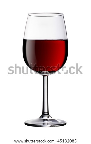 A glass of red wine isolated against a pure white background. Clipping path is included