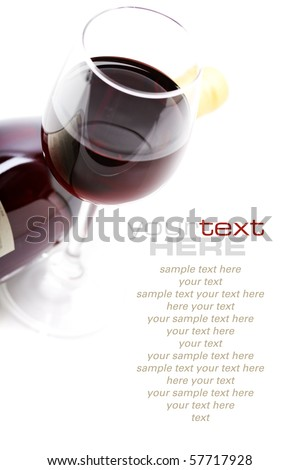 a glass of red wine over white with sample text