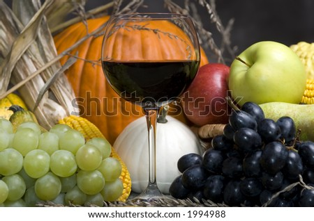 A glass of red wine with Autumn fruit