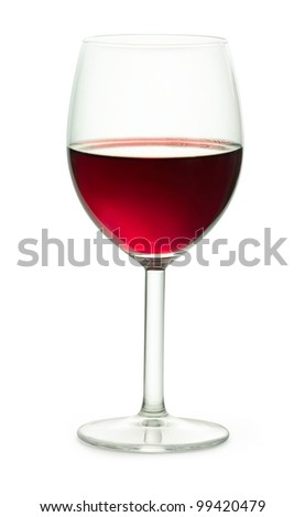 a glass of red wine with clipping path