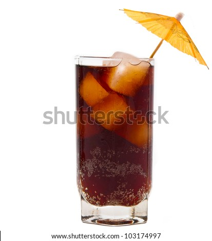 a glass of soda with ice, isolated on white background