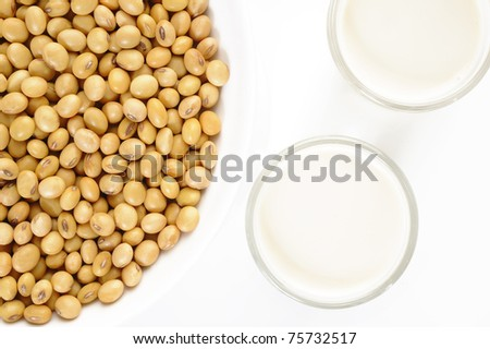 a glass of soymilk - stock photo