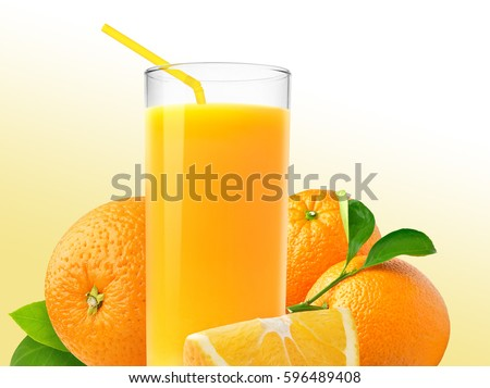 A glass of squeezed orange juice, fresh and juicy oranges isolated on a bright yellow and white background. #596489408