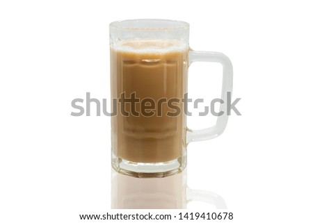 A Glass Of Tea With Milk Or Popularly Known As Teh Tarik isolated on White Background #1419410678