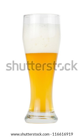 A glass of unfiltered beer isolated on white