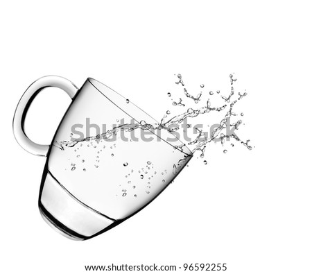 A glass of water and water splashes on white background