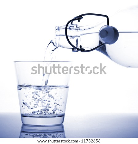 A glass of water being poured from a bottle.