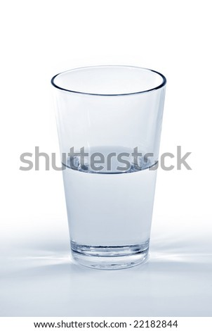 A glass of water half full or half empty.
