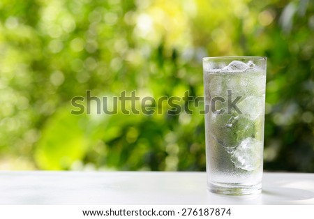 a glass of water with ice on nature background. #276187874