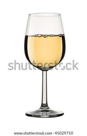 A glass of white wine isolated against a pure white background. Clipping path is included