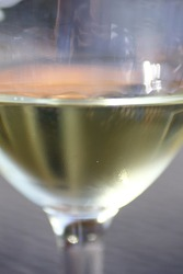 A Glass of White Wine Viewed Upclose