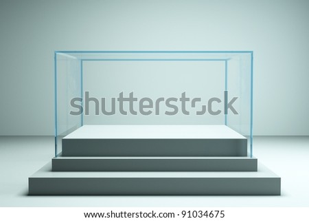 a glass showcase in a room