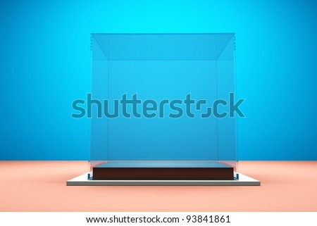 a glass showcase on blue