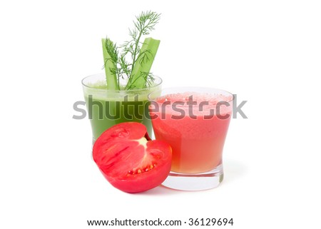 A glasses of fresh vegetable  juice from tomatoes and a celery isolated on white background.