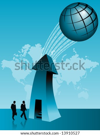 A global business background with two men walking into an office door. A large arrow is pointing up to a binary data stream on the way to the globe.