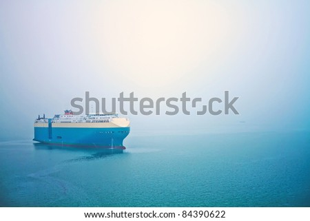 A global cruise stops in the sea in a foggy day