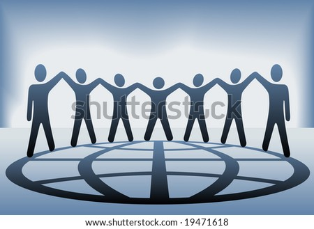 A global group of symbol people hold up their arms and hold hands on a globe on a blue background. Includes a clipping path for the people.