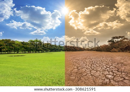 A global warming concept image showing the effect of environment climate change