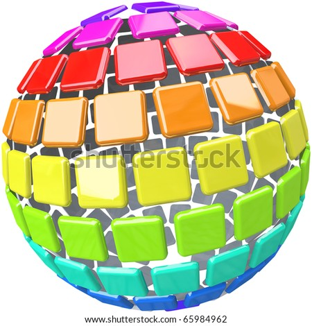 A globe made of colorful swatch tiles symbolizing diversity